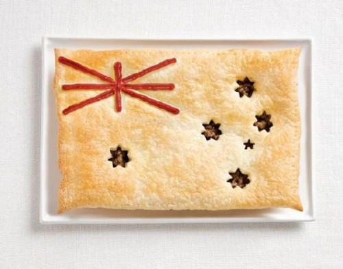Bandeira da Austrália feita de torta de carne e molho.