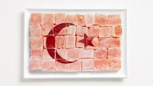 Bandeira da Turquia feita de 'delícias turcas' (Lokum).
